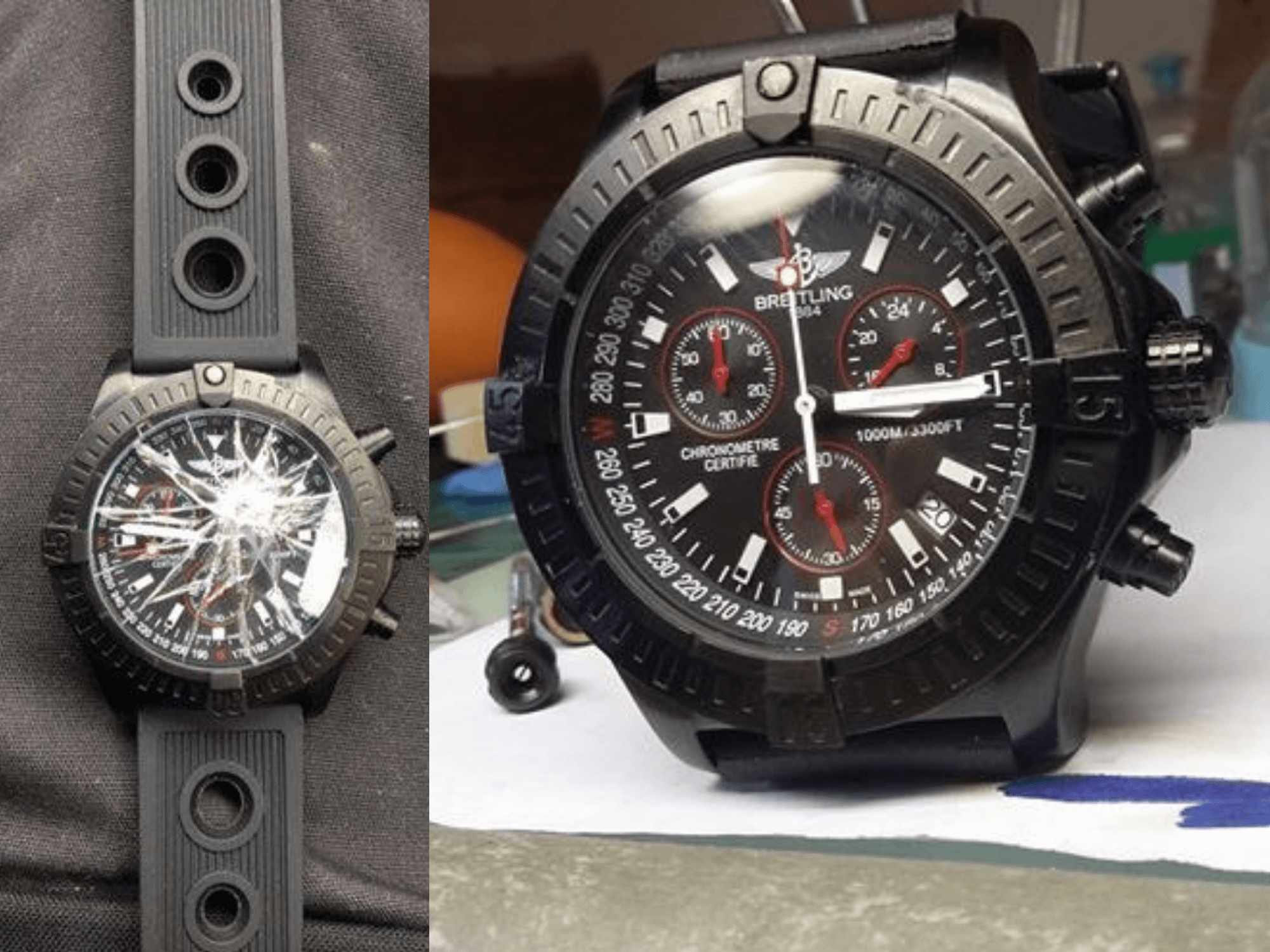 Comparison image of a smashed watch face and a repaired face