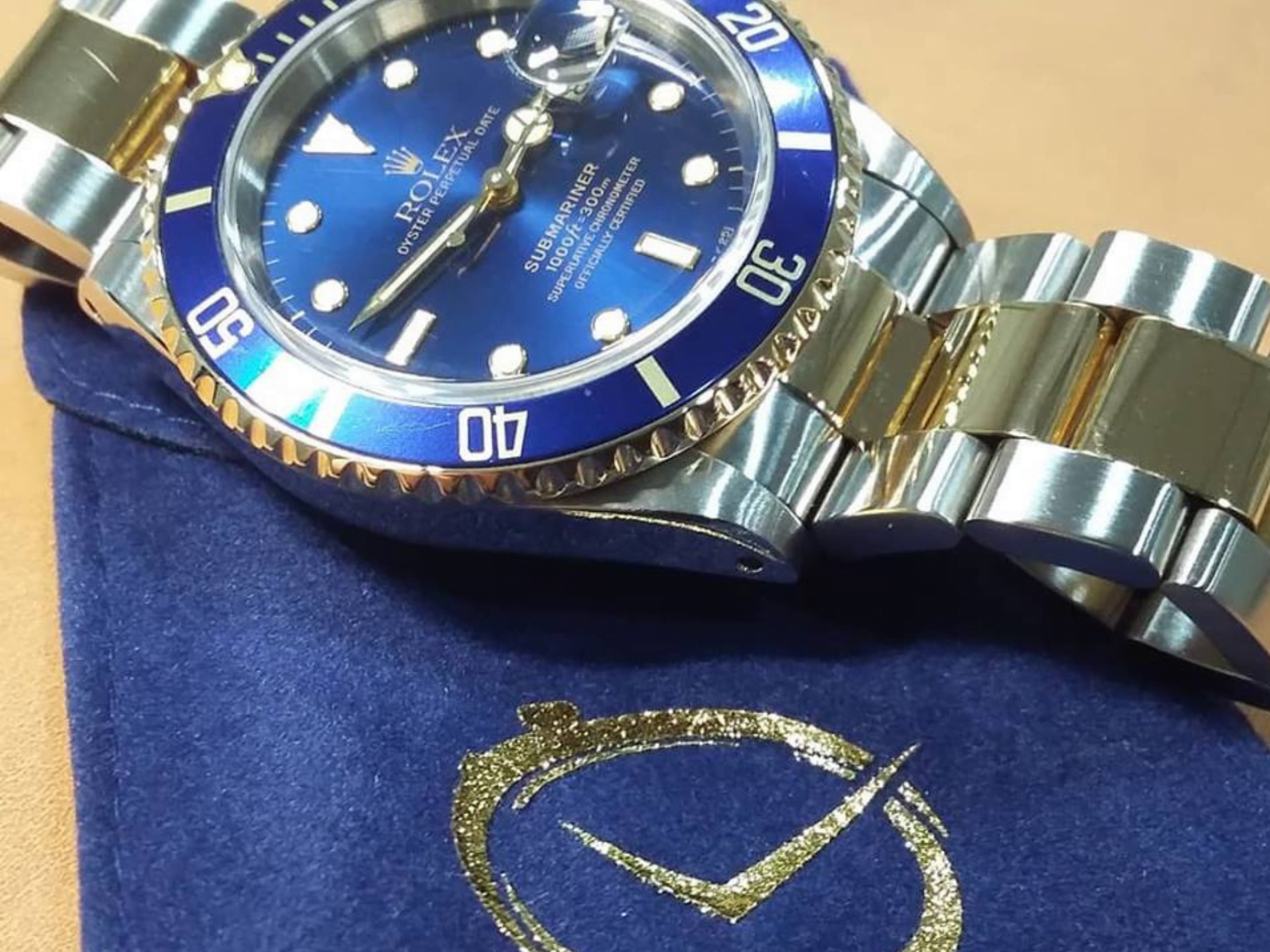 Newly serviced blue and gold Rolex