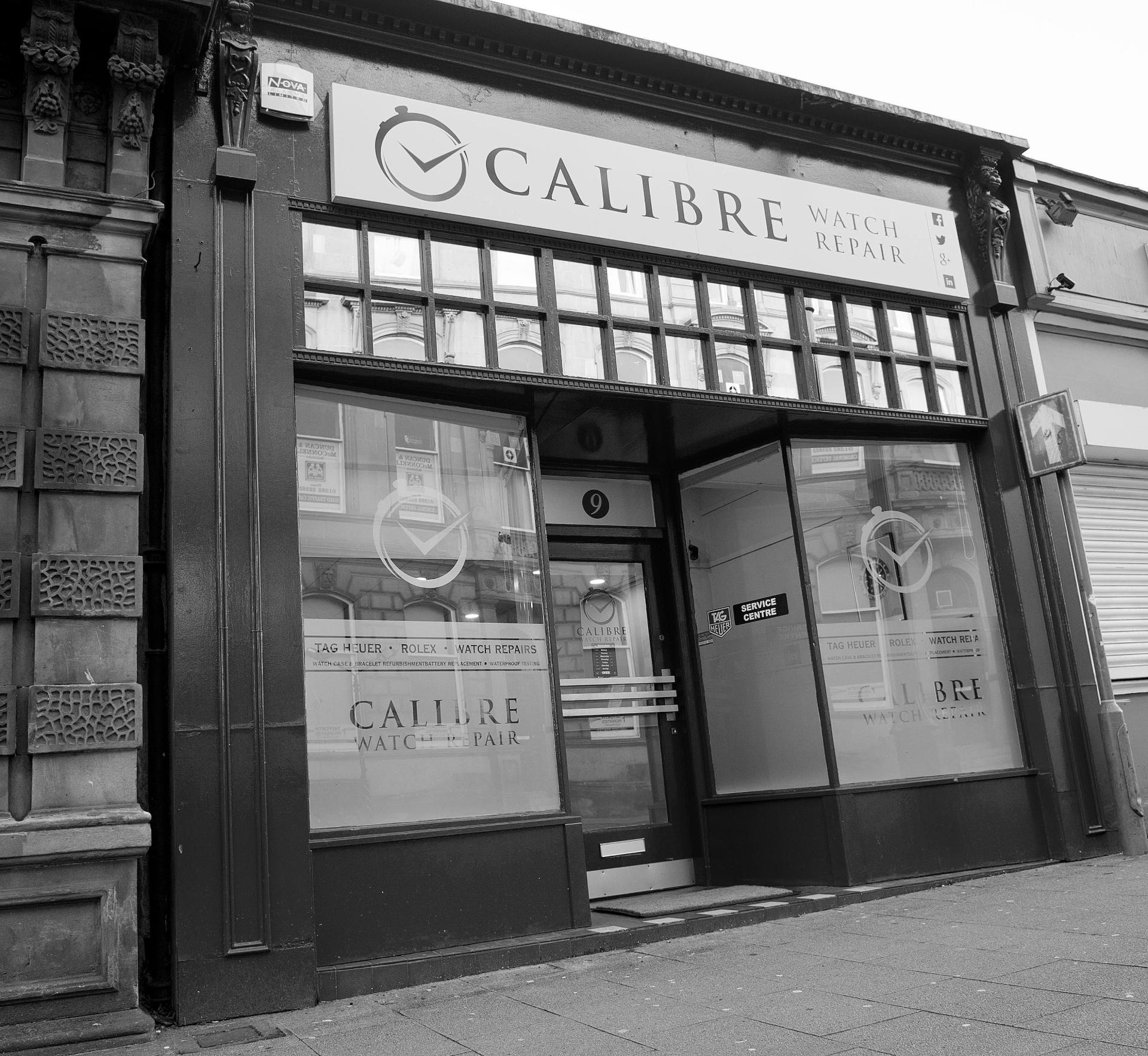 Calibre Watch Repair Shop Black & White